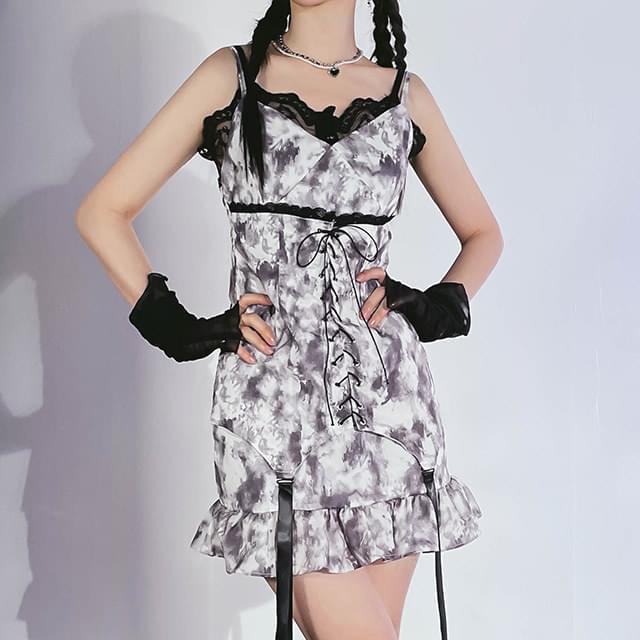 tie-dye strap mini Dress 迷你短洋裝