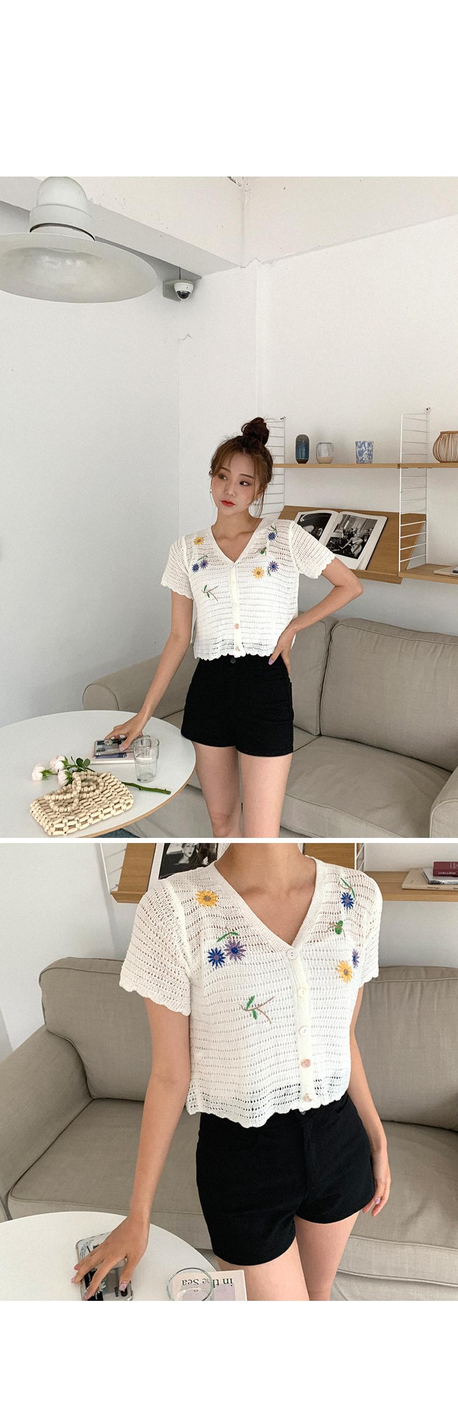 Flower embroidered short-sleeved cardigan