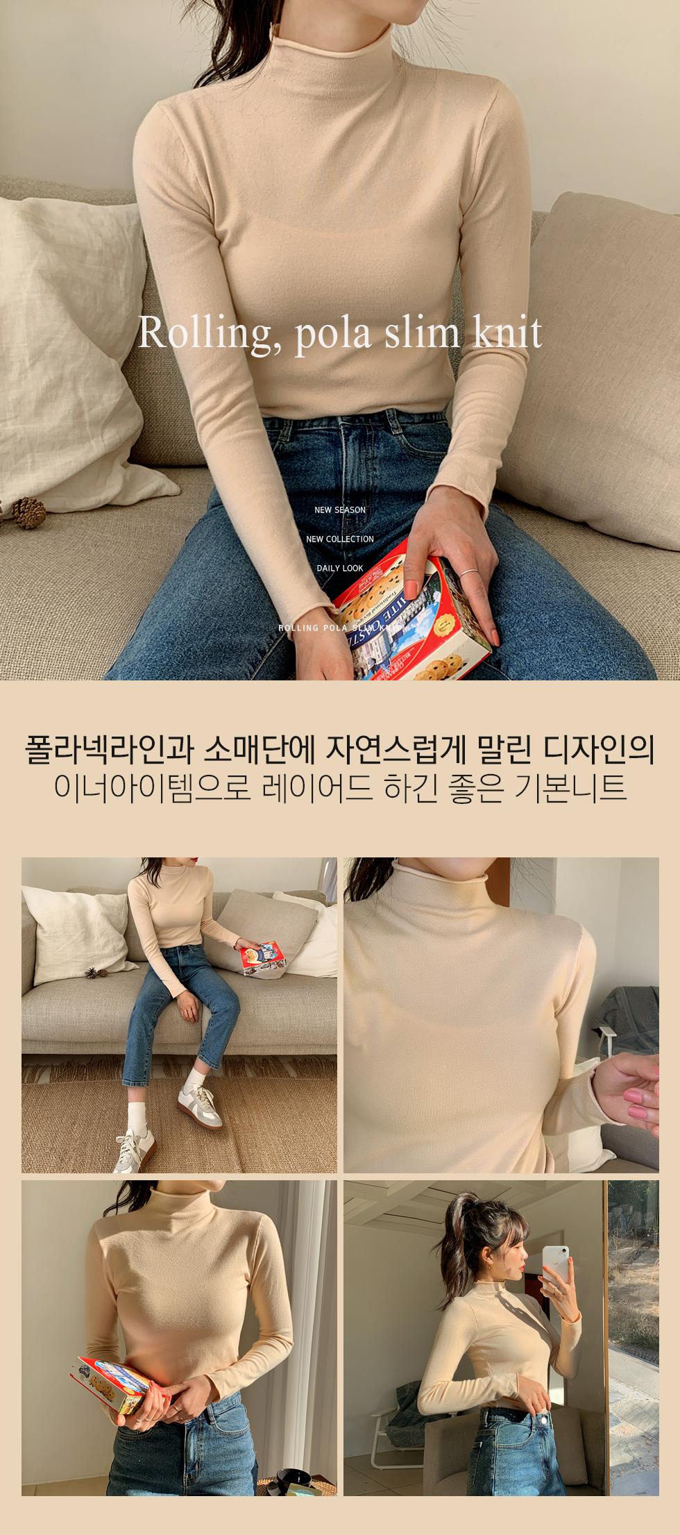 Rolling Turtleneck Slim Knitwear