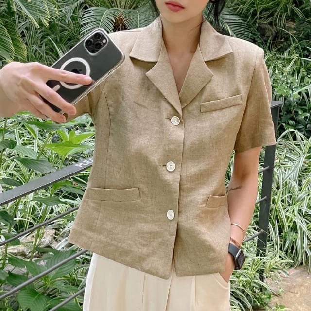 Reed Semi-Crop Linen Jacket 夾克