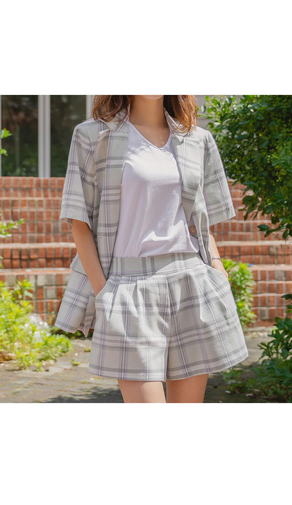 Common Check Overfit Short Sleeve Jacket