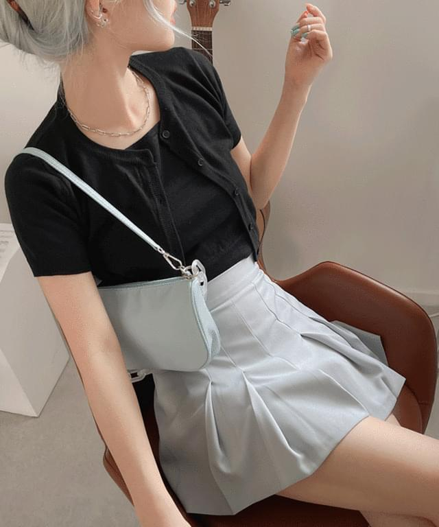 Creep Pleated Banding Skirt Trousers
