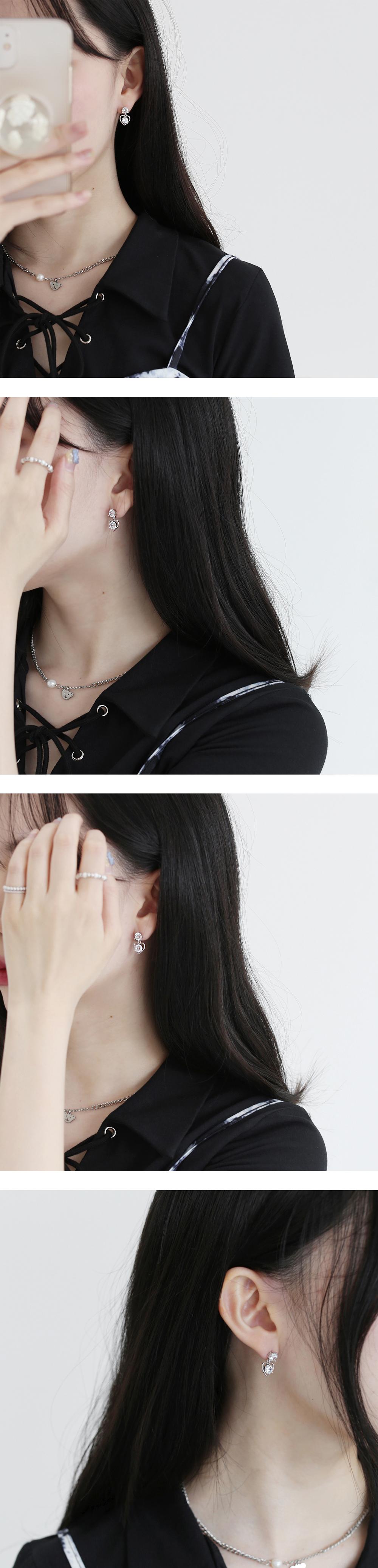 dobby drop heart earrings