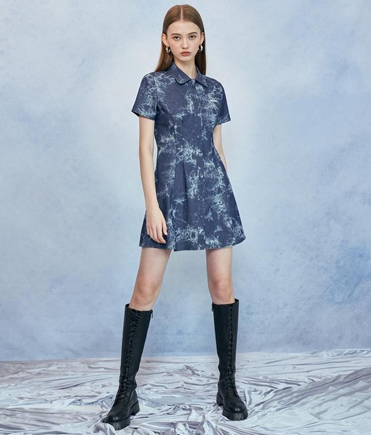 HIDEBlue Tie-Dye Shirt Dress