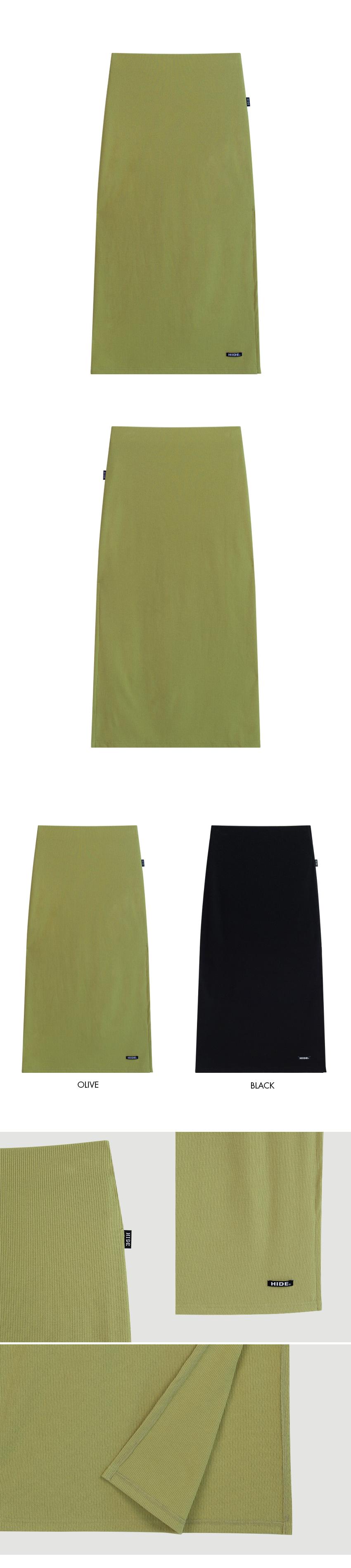 HIDE Chain Crop Top HIDE Slit Band Long Skirt (Olive)SET