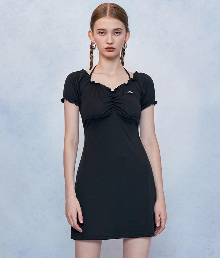 HIDEBlack Halter Strap Mini Dress