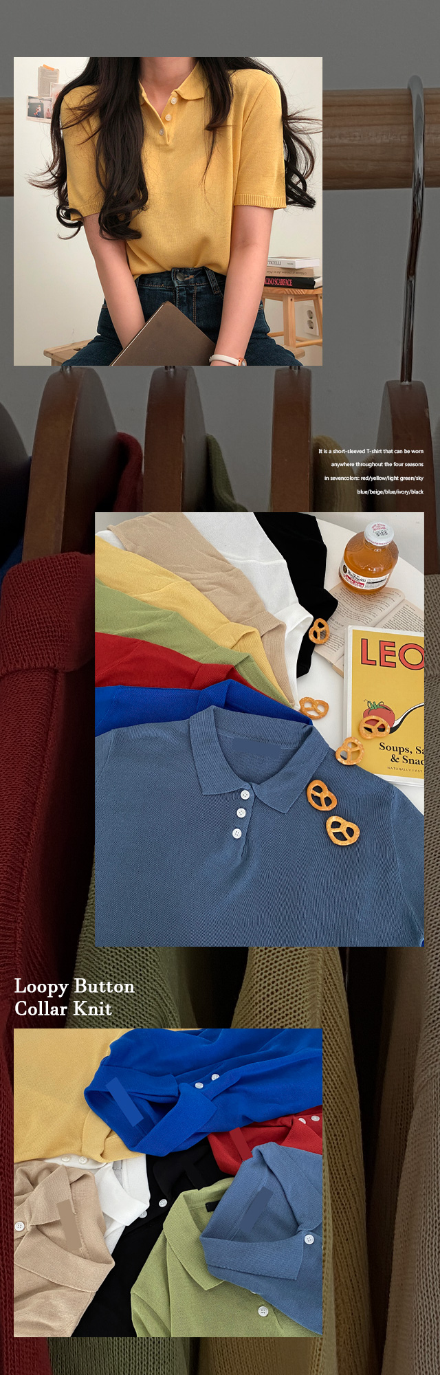 Luffy Button Collar Short Sleeve Knitwear