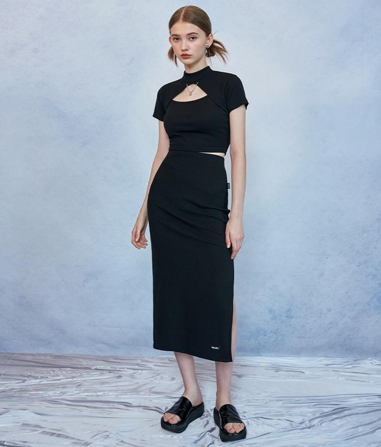 HIDE Chain Crop Top HIDE Slit Band Long Skirt (Black)SET