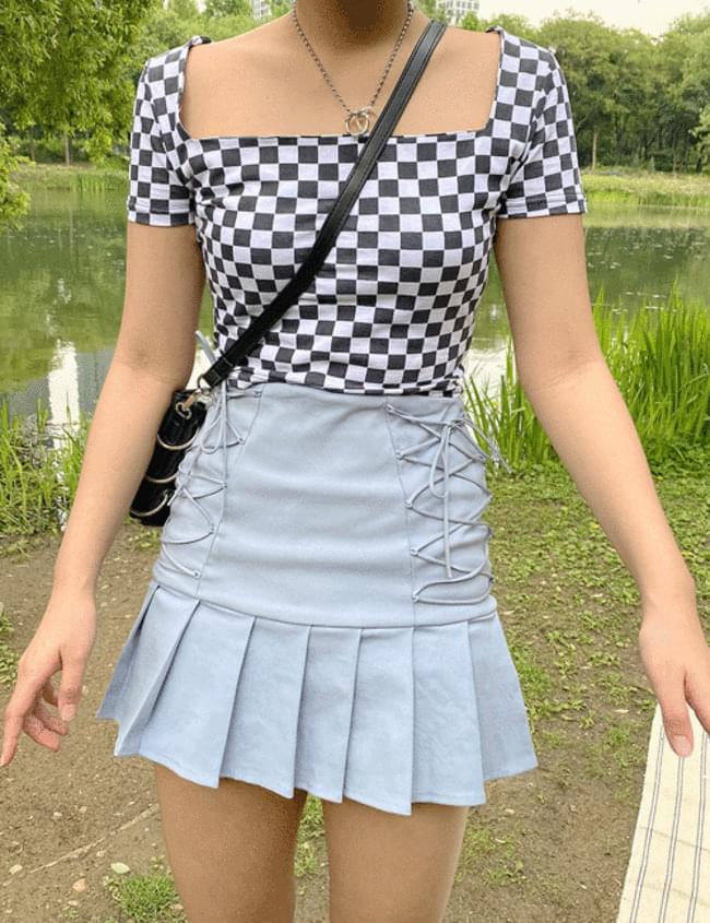 Square Neck Checkerboard T-shirt