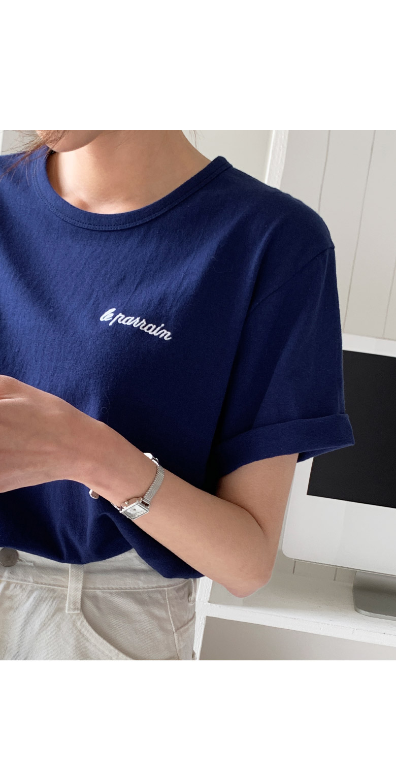 Logo Embroidery Lettering Short-sleeved T-shirt
