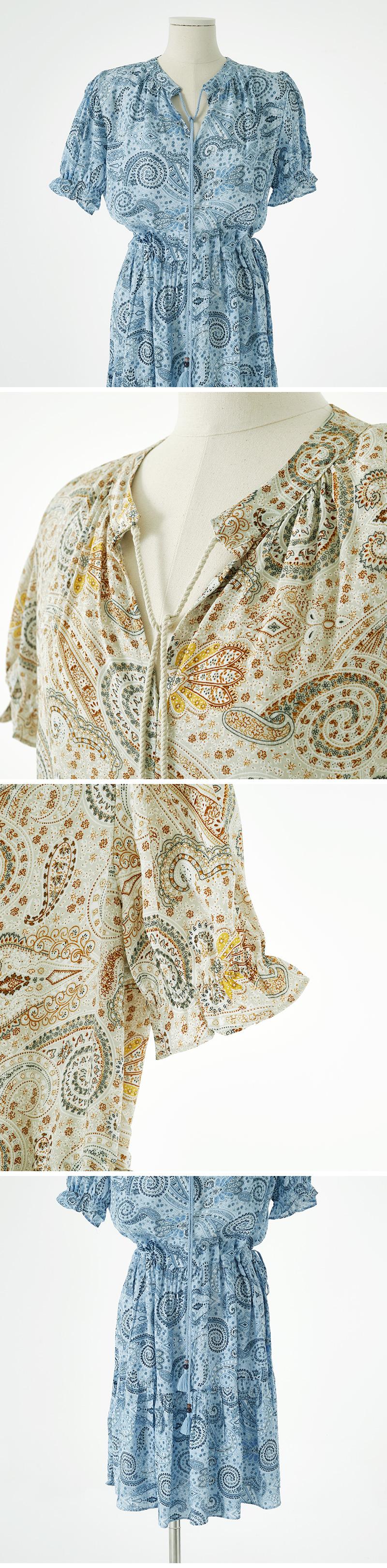 tassel puff paisley Dress