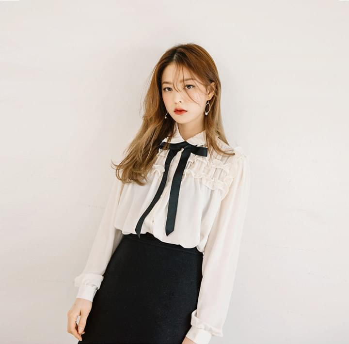 Ribbon Accent Neck Chiffon Blouse WITH CELEBRITY _ CHUNG HA