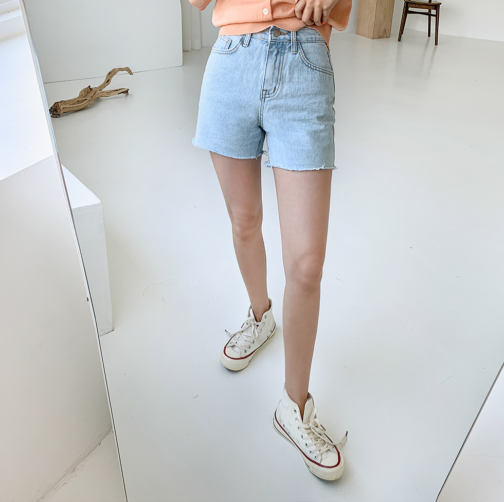 Aid denim shorts
