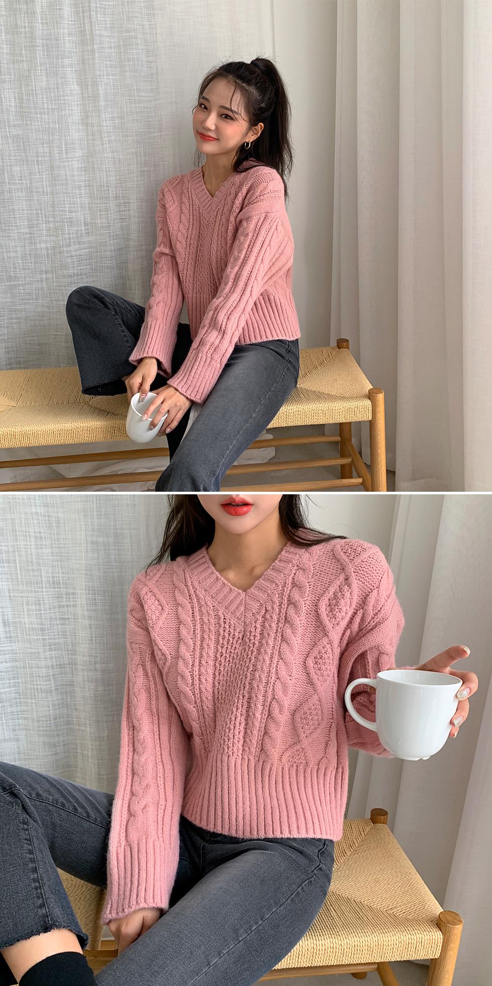 V-Neck Diamond Knitwear