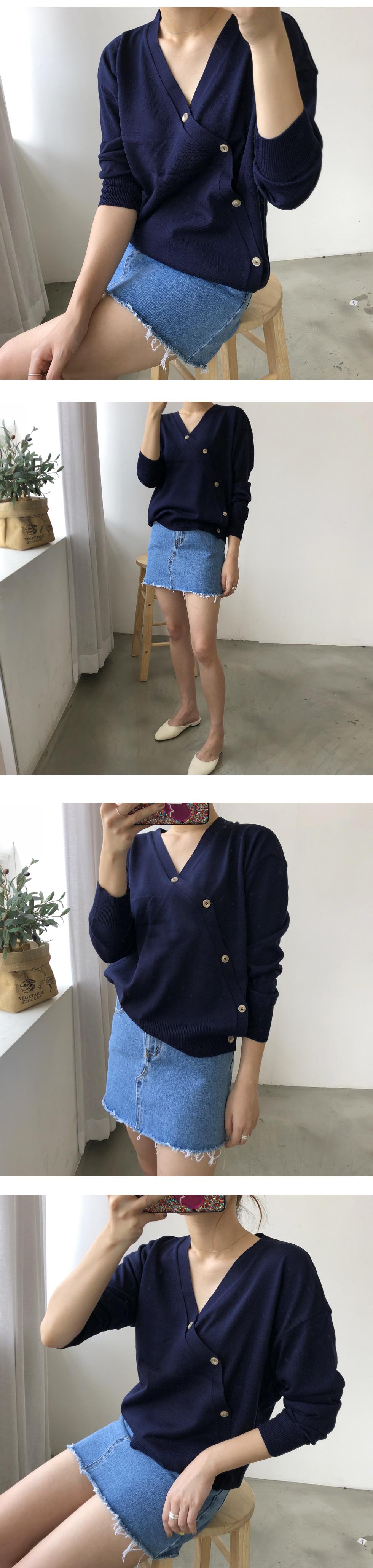 Diagonal button cardigan