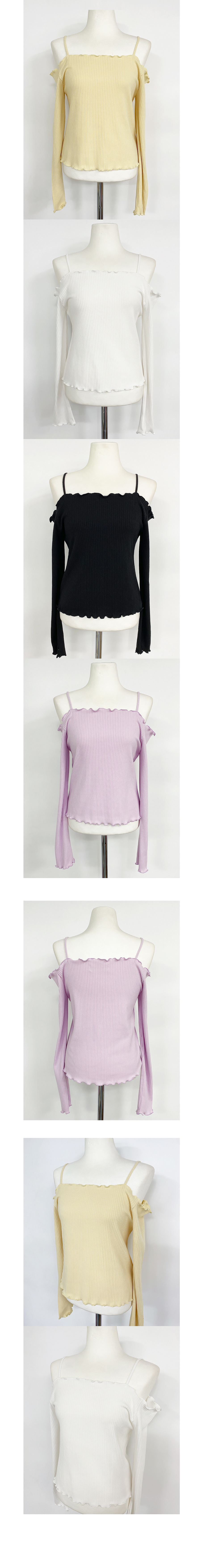 Soy off shoulder Ribbed Knitwear 6color