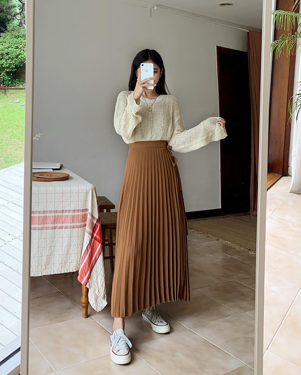 Piano Wrap Wrinkle Skirt