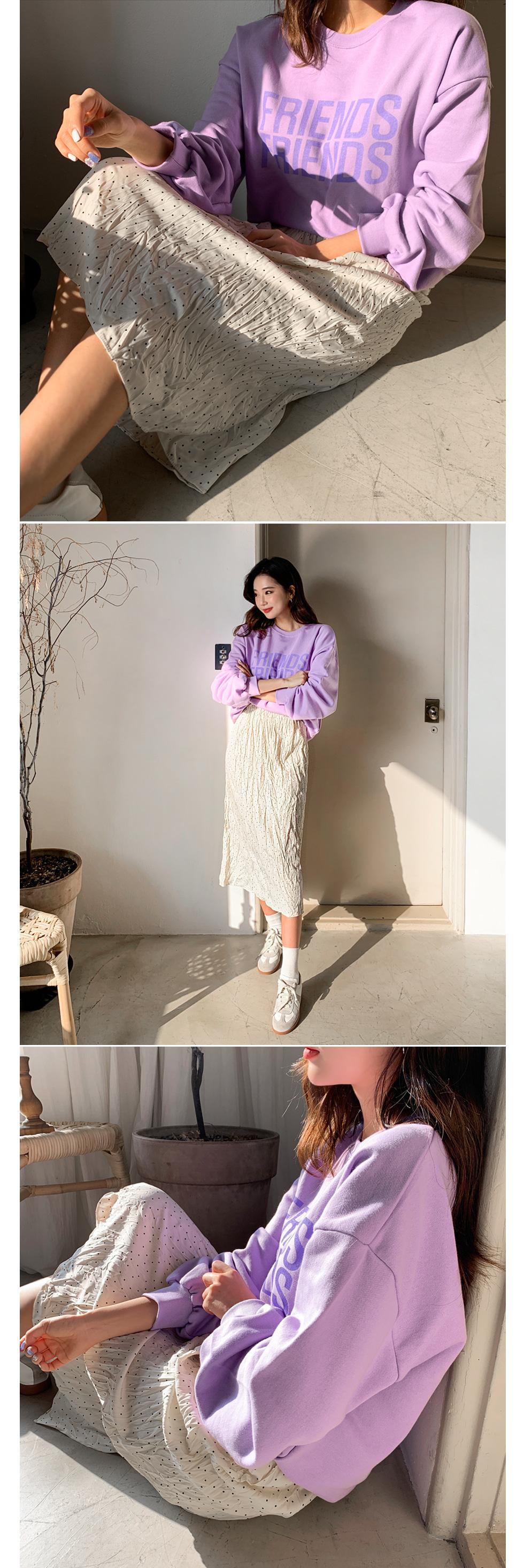 Jean-dot wrinkle skirt