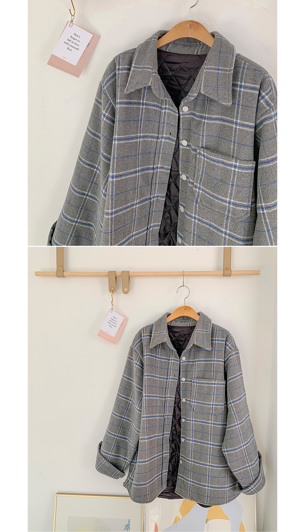 Quilted check jacket