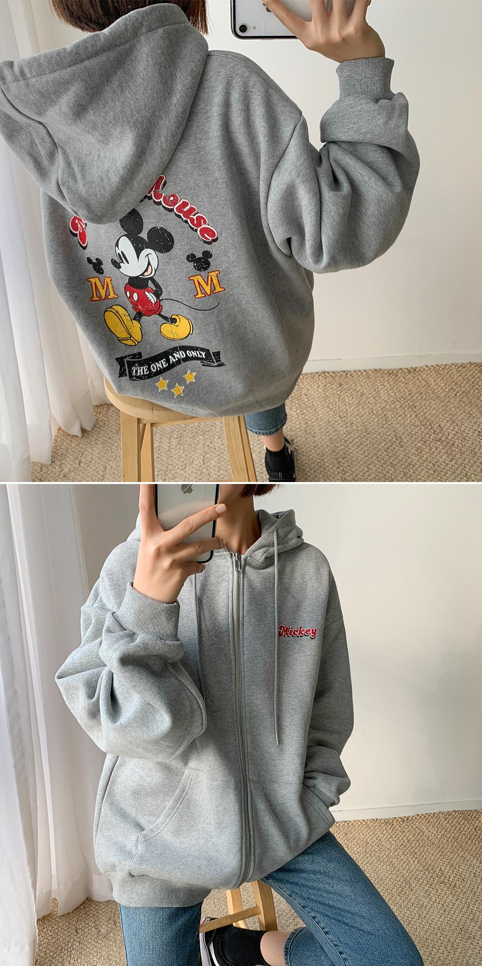 Mickey Woolen hooded zip-up