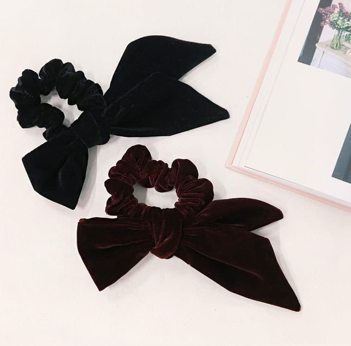 Ribbon Accent Velvety Hair Tie
