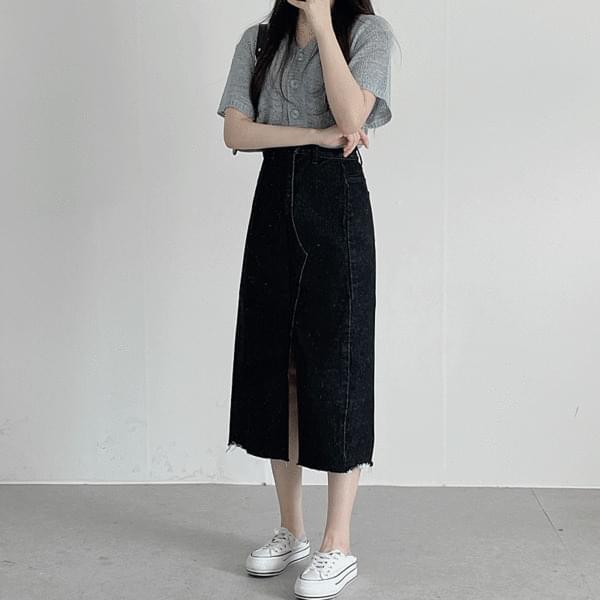 Underslit Denim Long Skirt