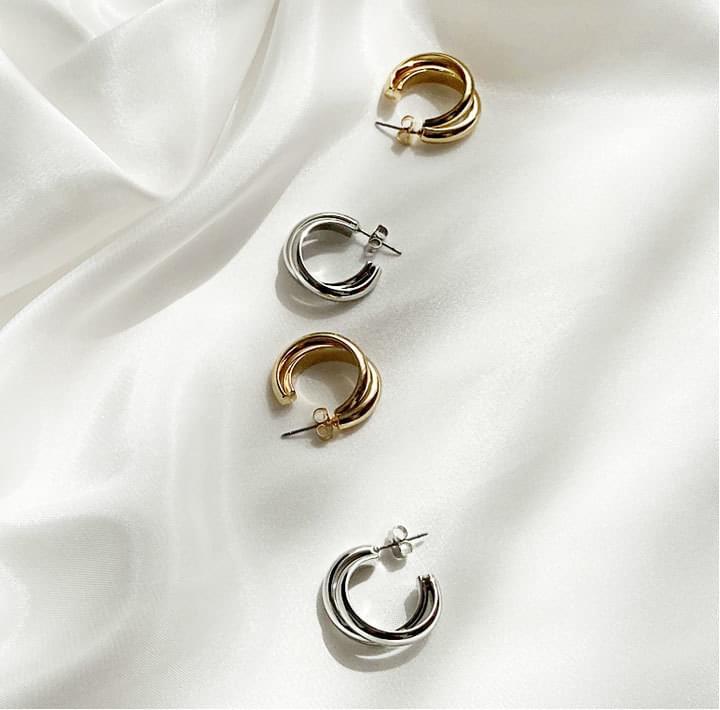 LEDIN DOUBLE BOLD RING EARRING