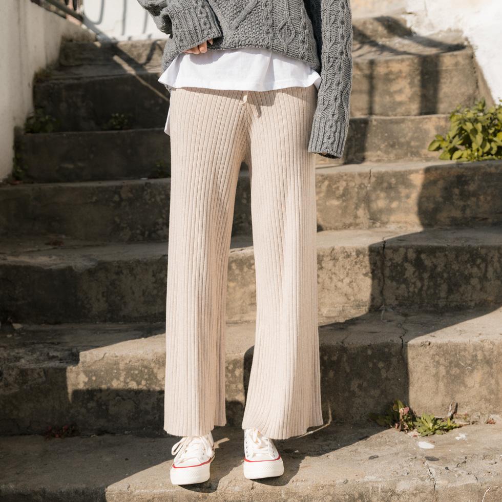 Warm Knitwear Ribbed Pants