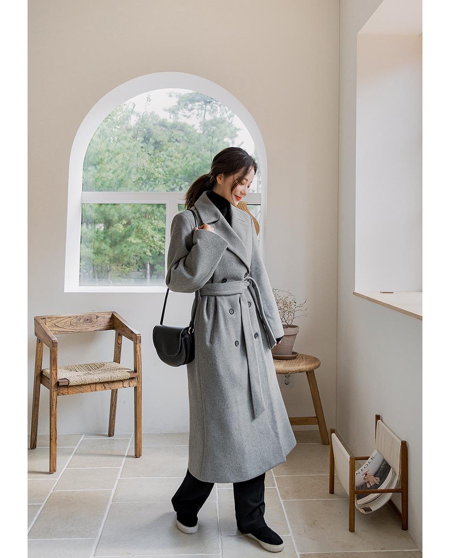 Double Strap Wool Coat