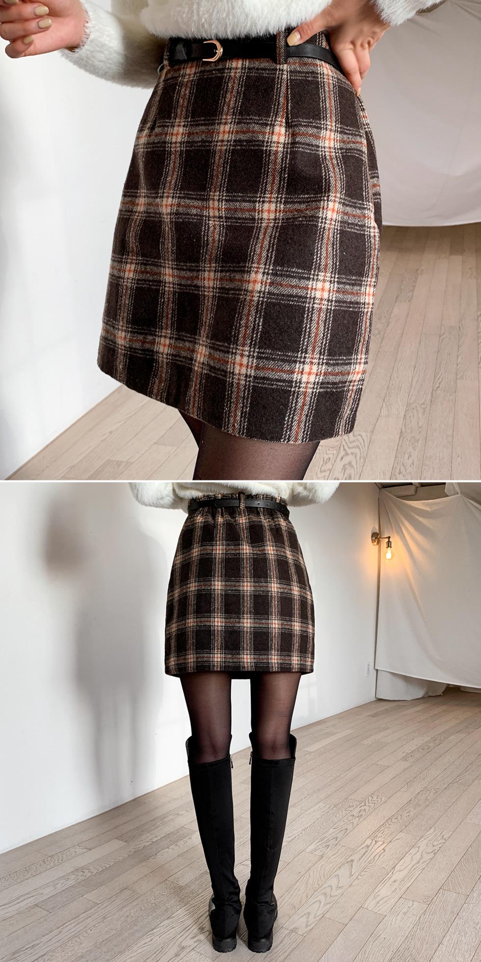 Checked skirt pants