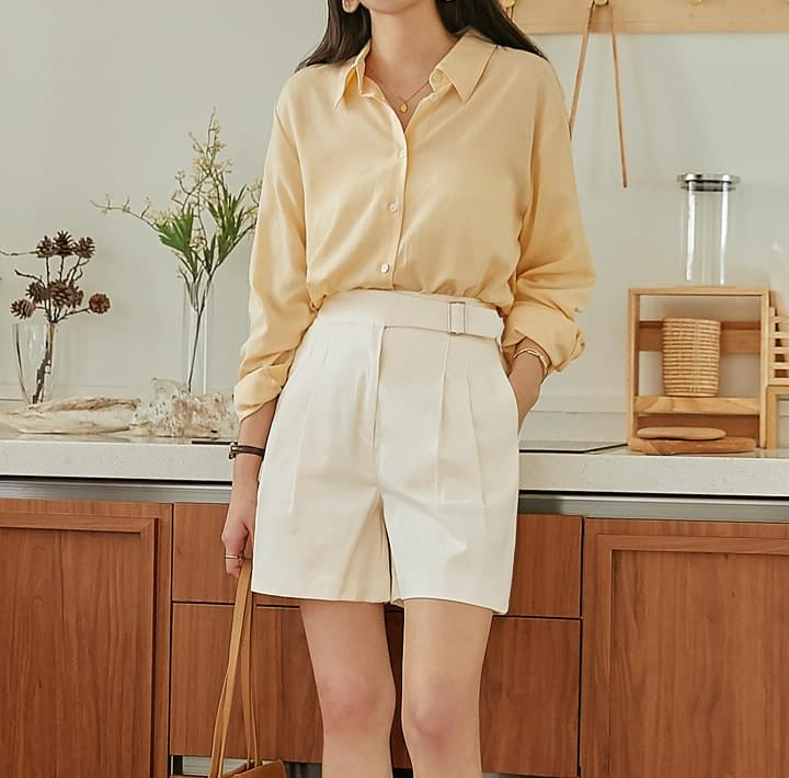 Linen Blend Basic Loose Shirt