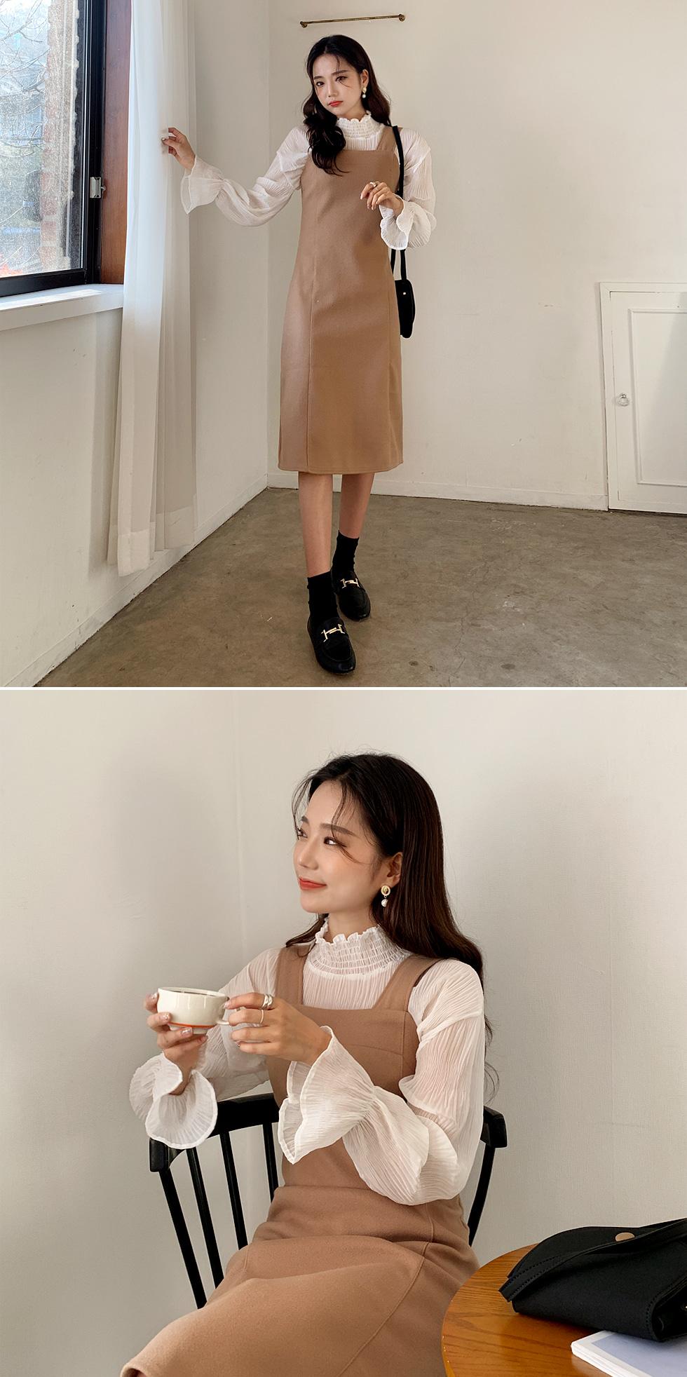 See-through wrinkle blouse