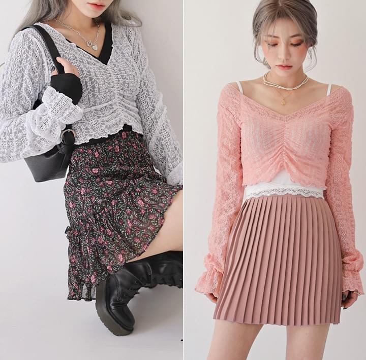 Shirred Front Lace Blouse