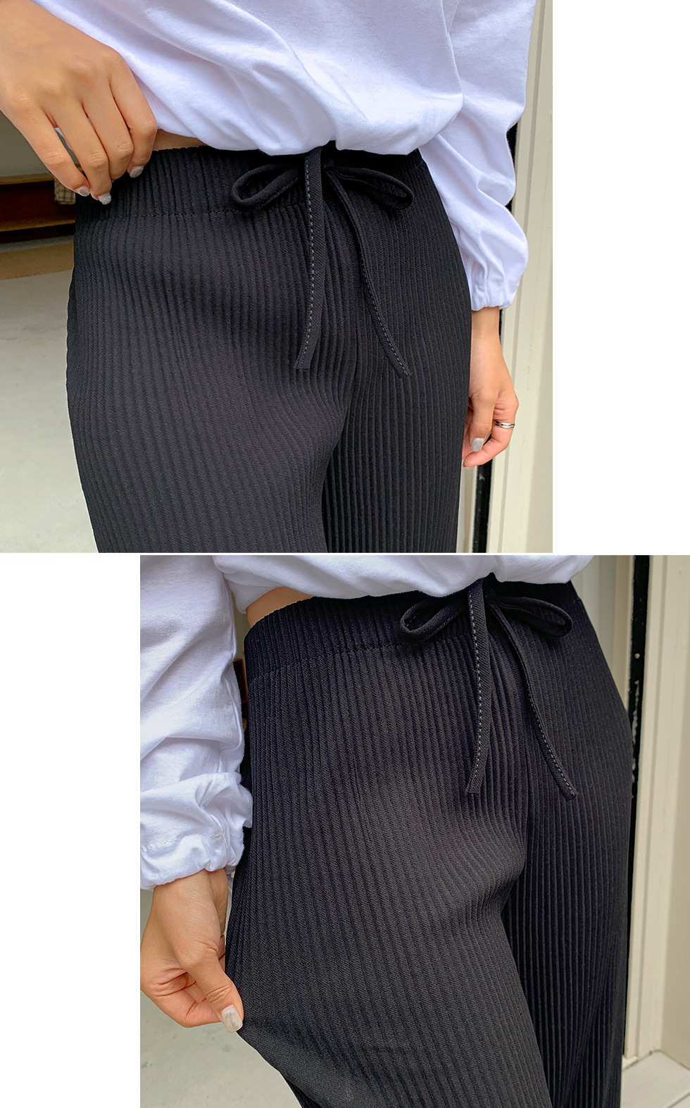 Earth Ribbed banding pants