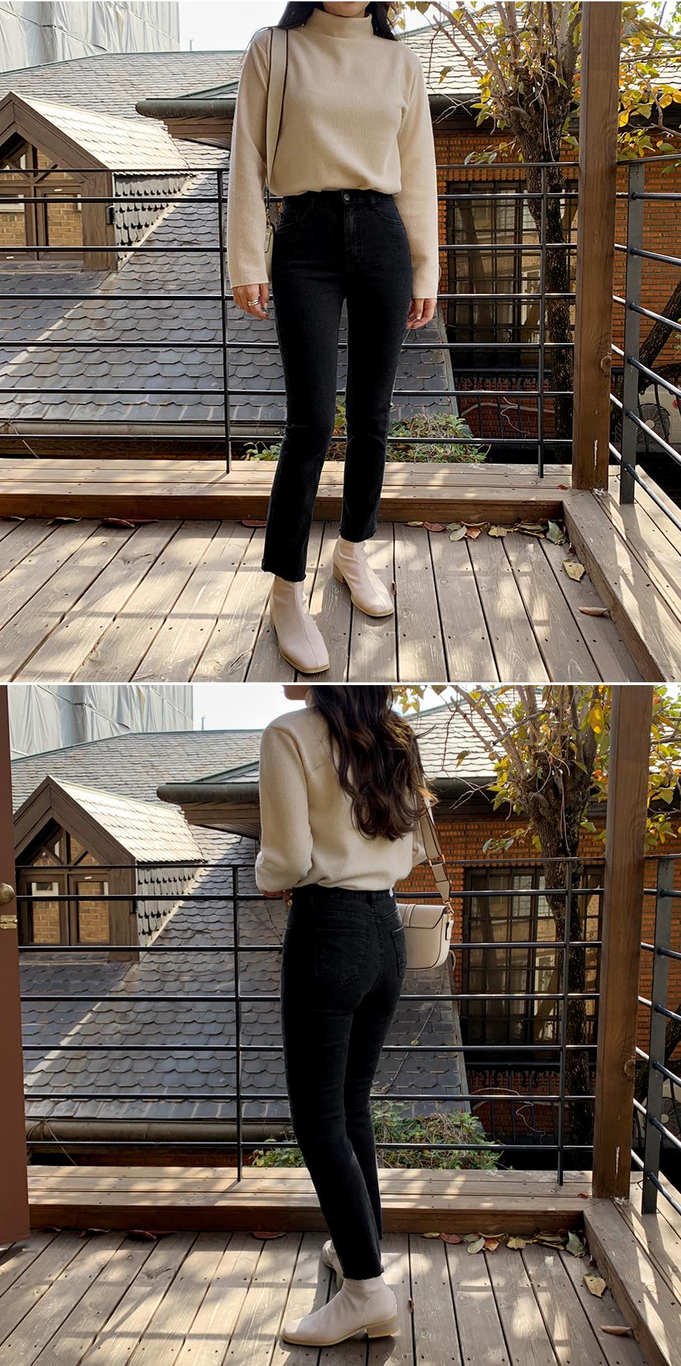 Black Fleece-lined denim pants
