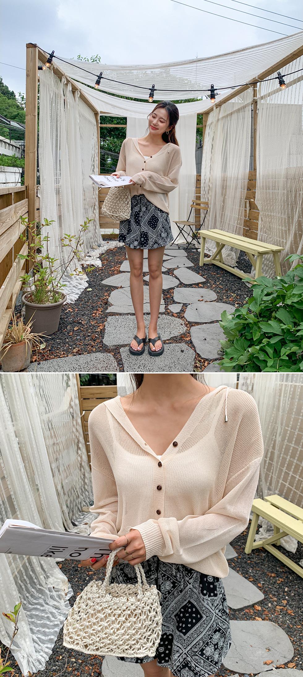 Button Chain Hood Knitwear