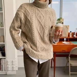 Roji Loose-fit Twisted Turtleneck Knitwear