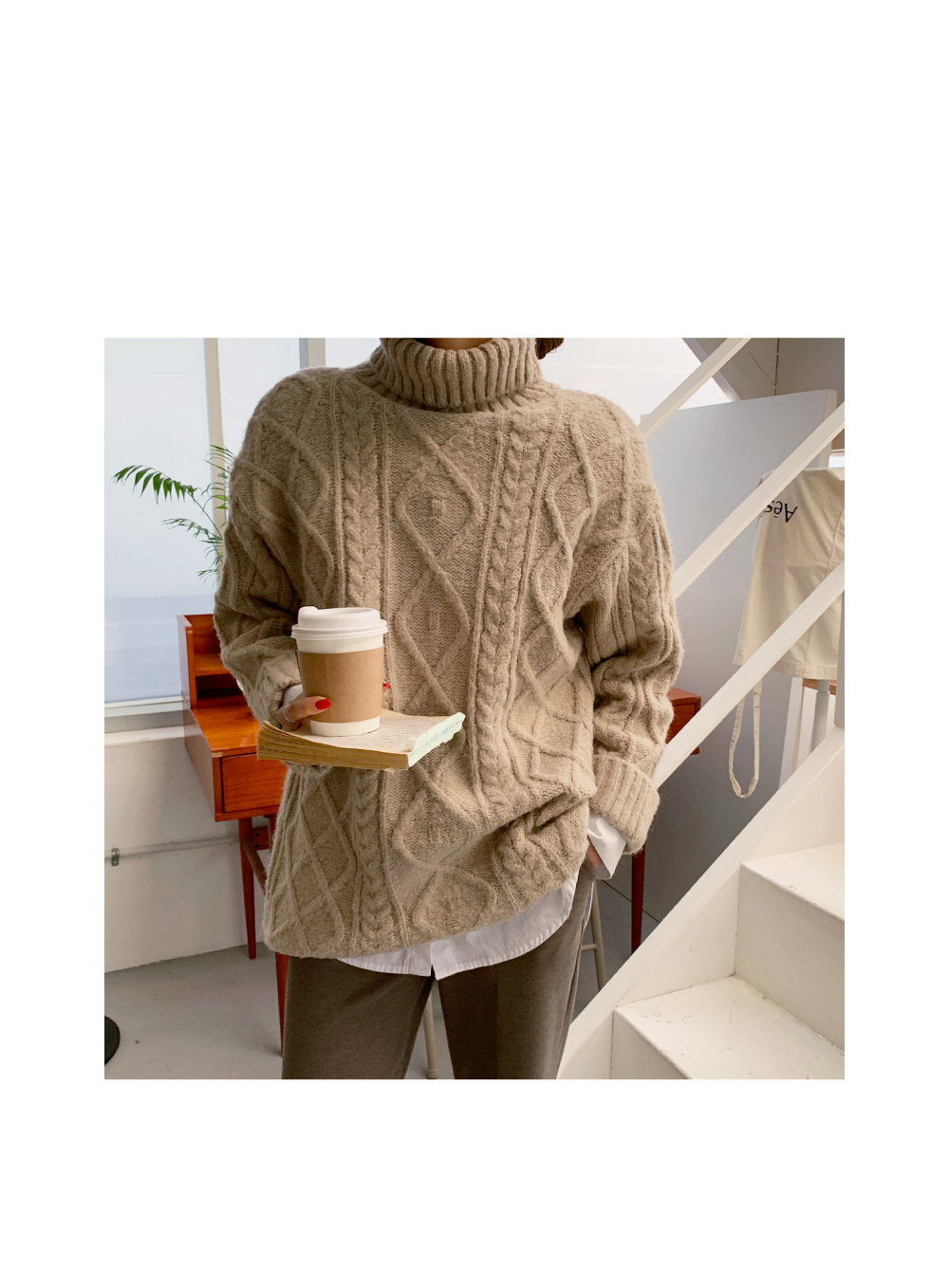 long sleeved tee oatmeal color image-S1L7