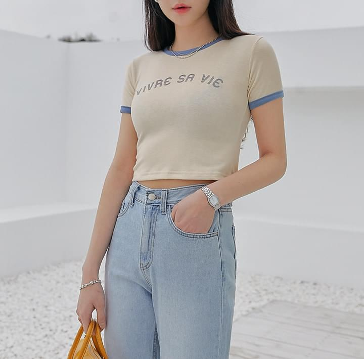 Contrast Edge Cropped T-Shirt