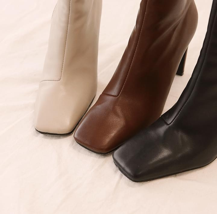 Square Toe Pleather Ankle Boots