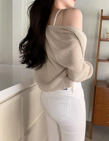loa slim fit cropped cardigan