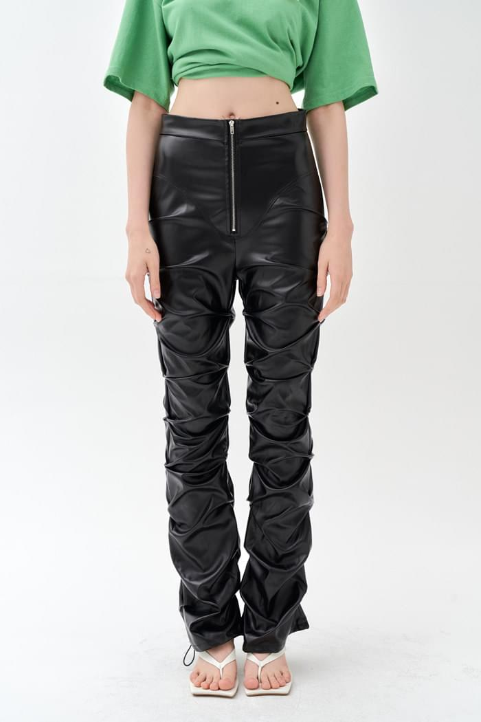 Shirring Leather Pants