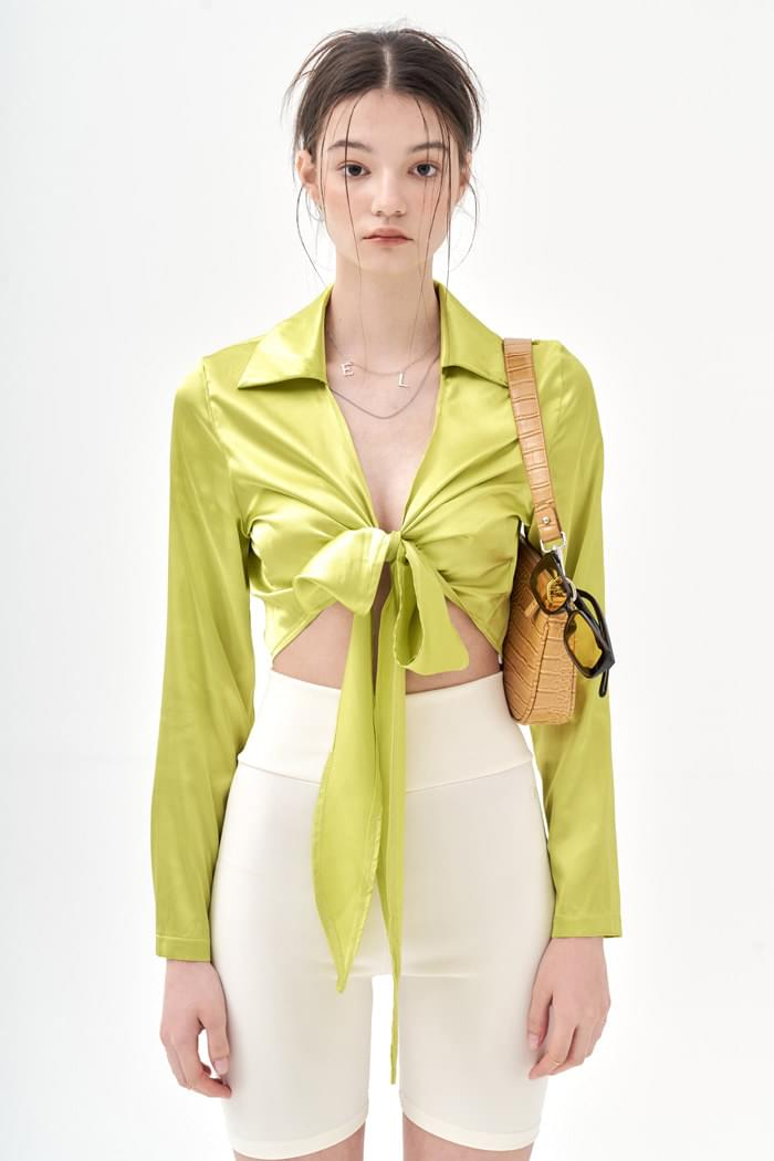 Lime Silky Blouse