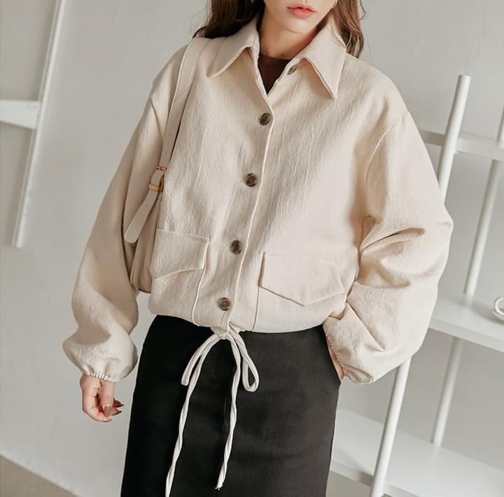 Drawstring Hem Flap Pocket Jacket