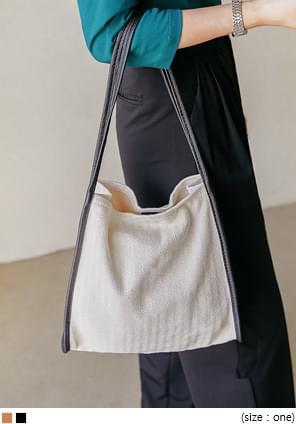 Contrast Accent Herringbone Bag