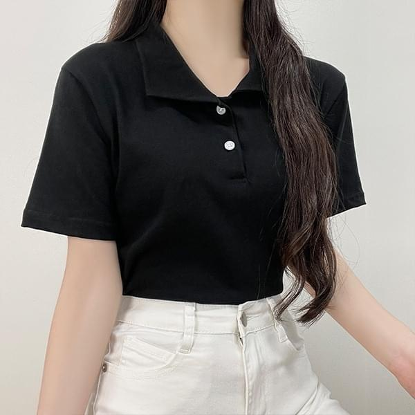 Mona, collar cropped short-sleeved T-shirt