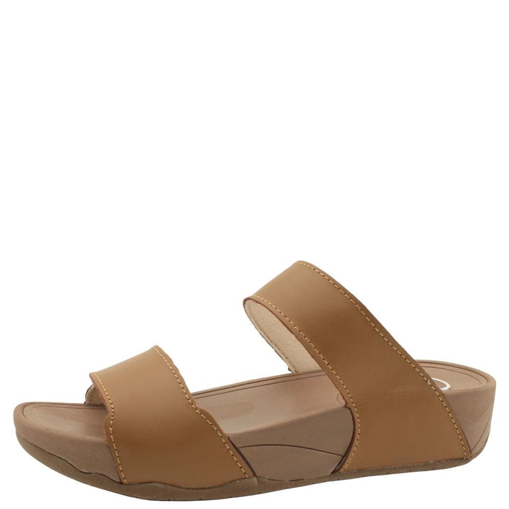 韓國空運 - Cowhide Cushion Whole Heel Slippers 4cm Brown 涼鞋