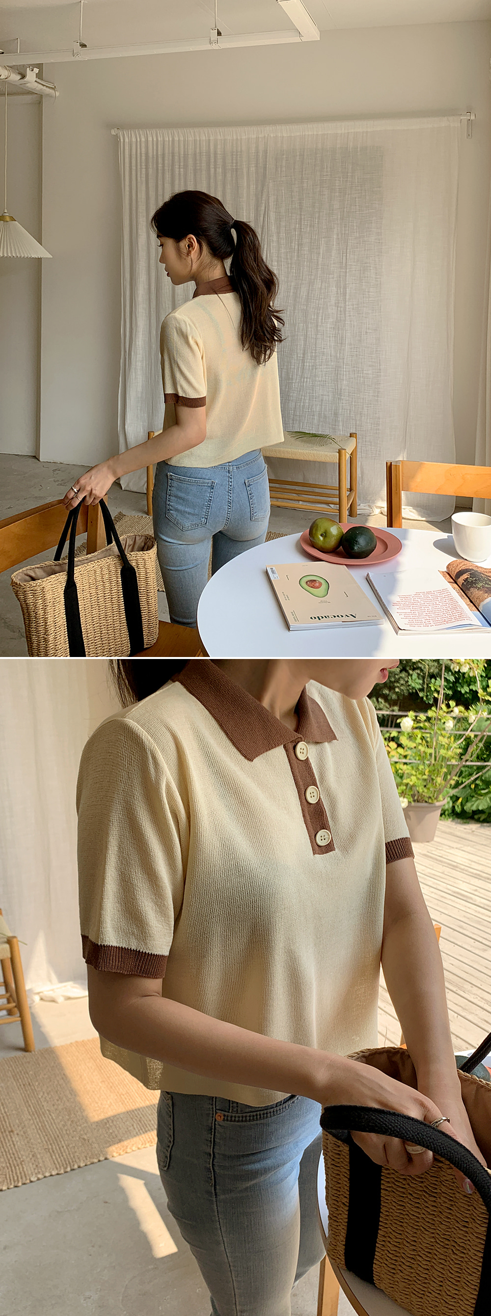 Poly Button Color Knitwear