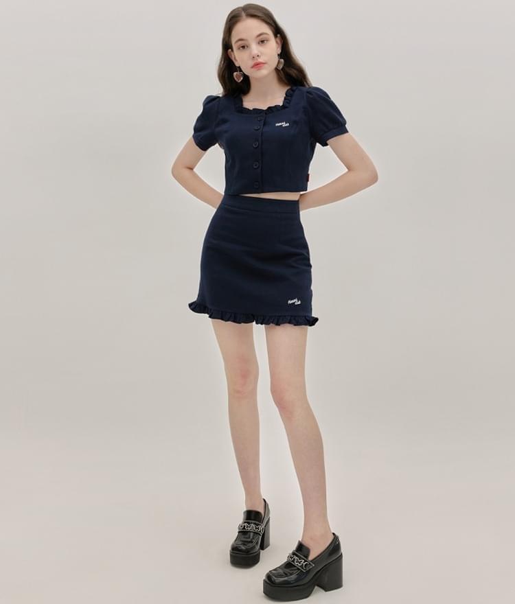 Heart Square Frill Blouse Heart Frill Skirt (Navy)SET