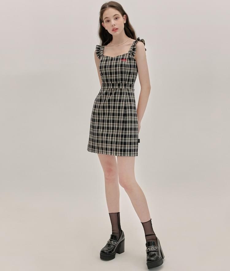 HEART CLUBBlack Sleeveless Check Dress